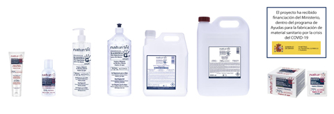 Sanitizing gel and hydroalcoholic solution in different formats. Contact for more information