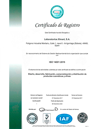 ISO 14001-Ximart Laboratories S.A.