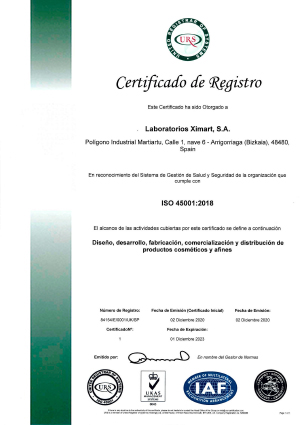 OHSAS 18001-certified laboratories XImart S.A.