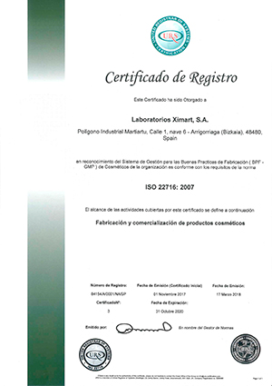 ISO 22716-Ximart Laboratories S.A.