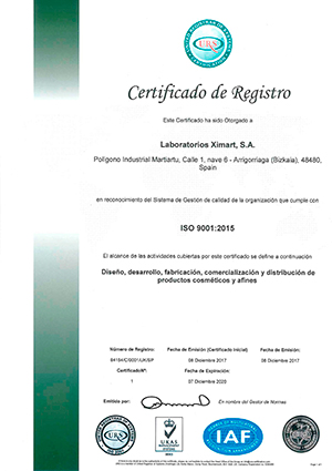 ISO 9001-Ximart Laboratories S.A.